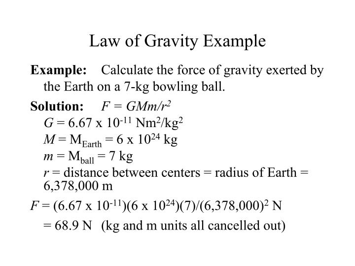 Law of Gravity Example