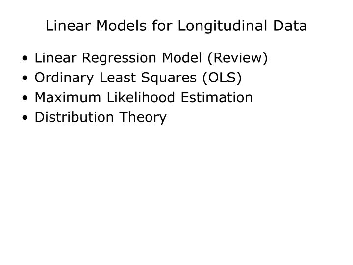 Linear models for longitudinal data