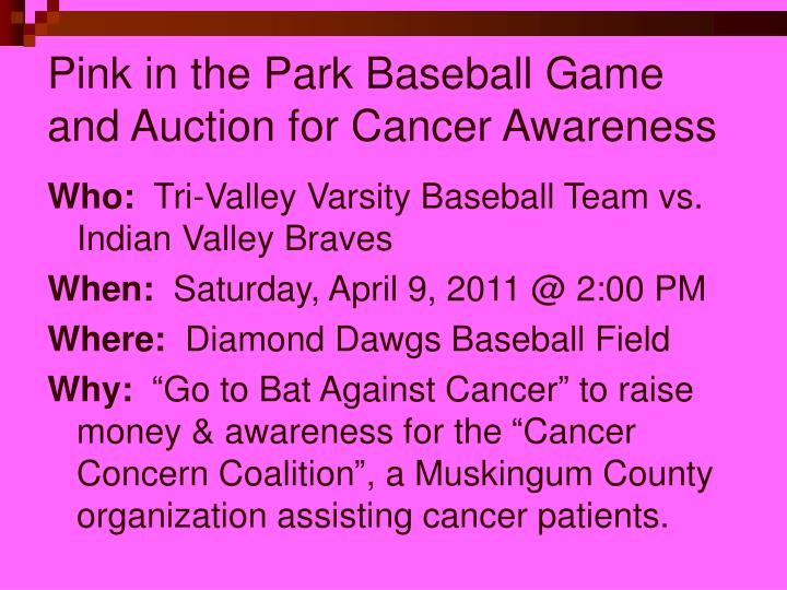 Pink in the Park Baseball Game and Auction for Cancer Awareness