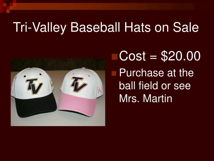 Tri-Valley Baseball Hats on Sale