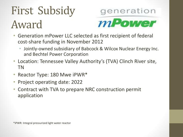 First  Subsidy