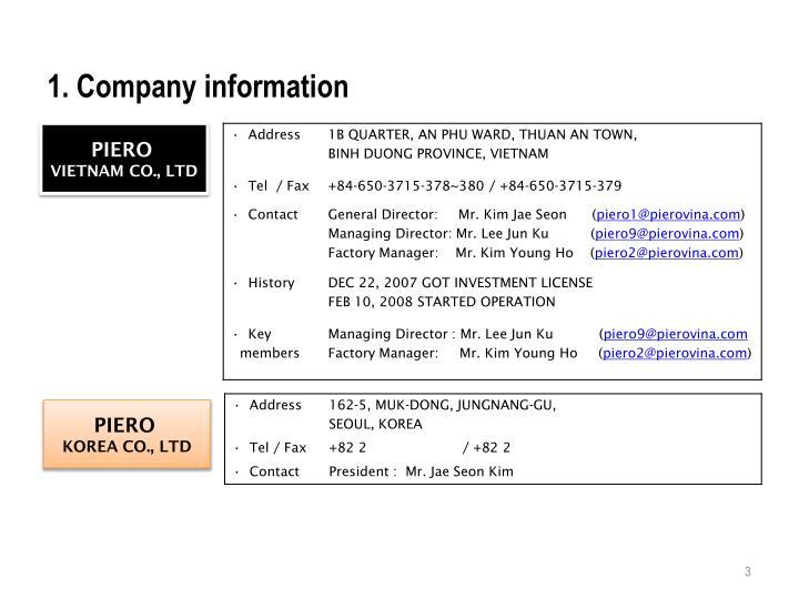1. Company information