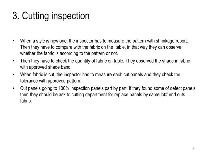 3. Cutting inspection