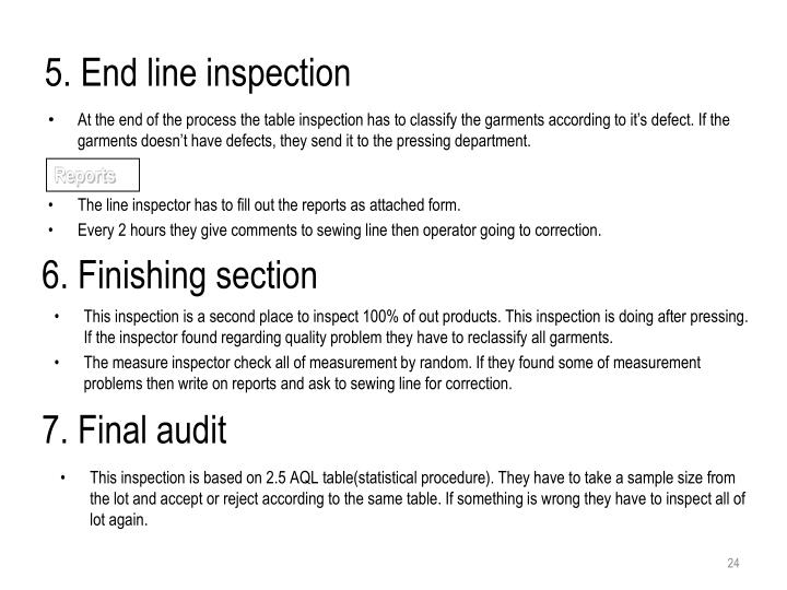 5. End line inspection