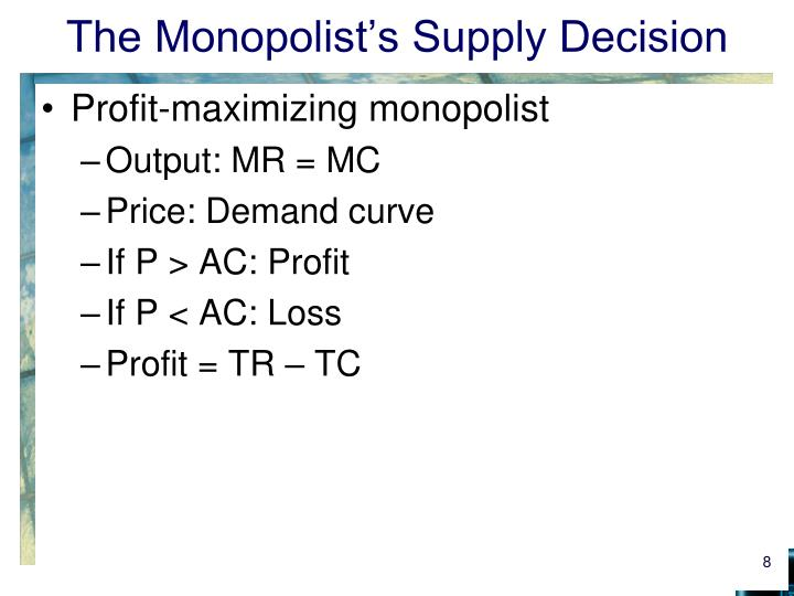 The Monopolist's Supply Decision