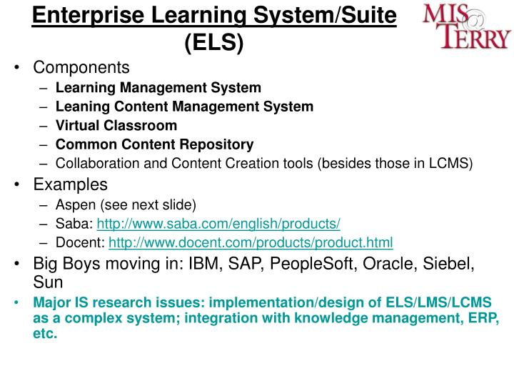 Enterprise Learning System/Suite