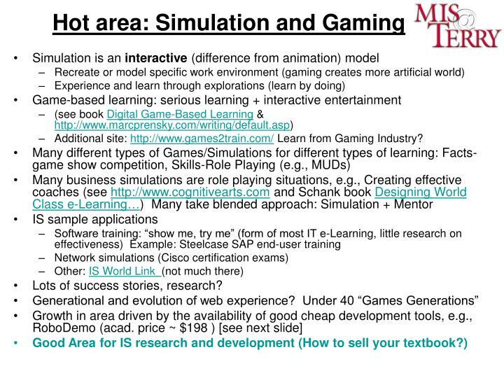 Hot area: Simulation and Gaming