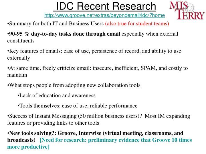 IDC Recent Research