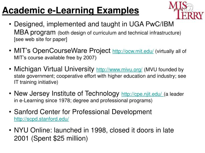 Academic e-Learning Examples