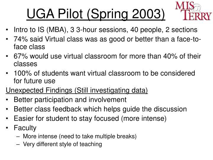 UGA Pilot (Spring 2003)