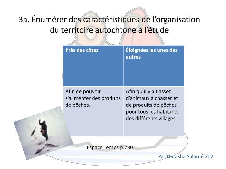 3a. Énumérer des caractéristiques de l'organisation du territoire autochtone à l'étude
