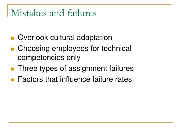 mistakes and failures