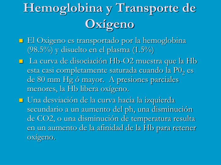 Hemoglobina y Transporte de  Oxígeno
