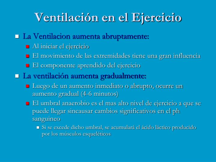 Ventilación en el Ejercicio