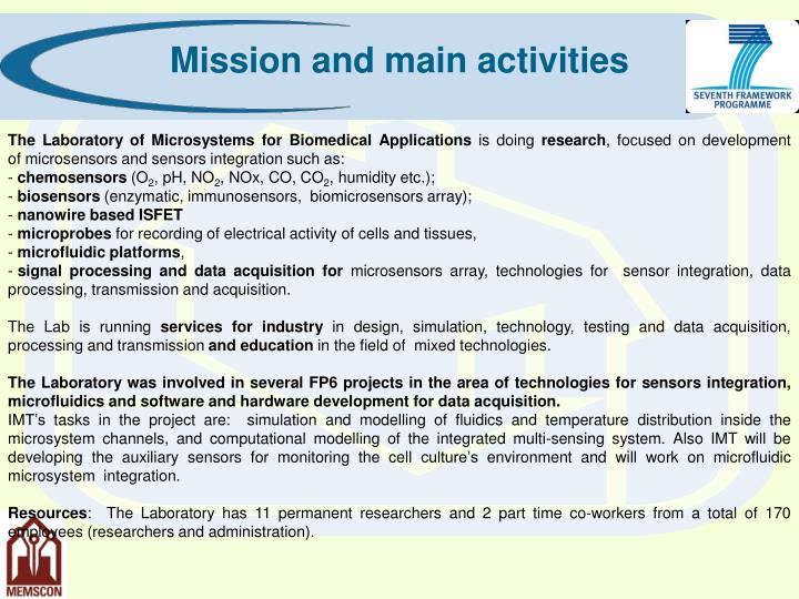 Mission and main activities