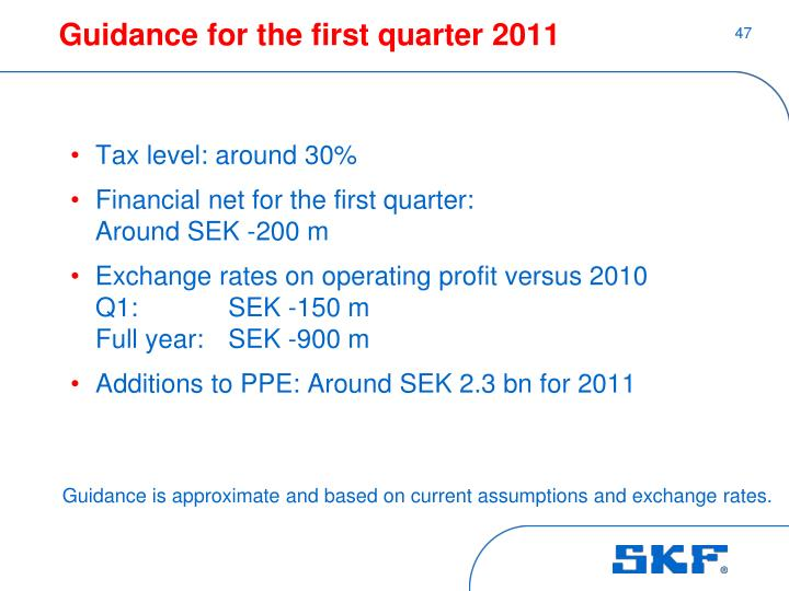 Guidance for the first quarter 2011