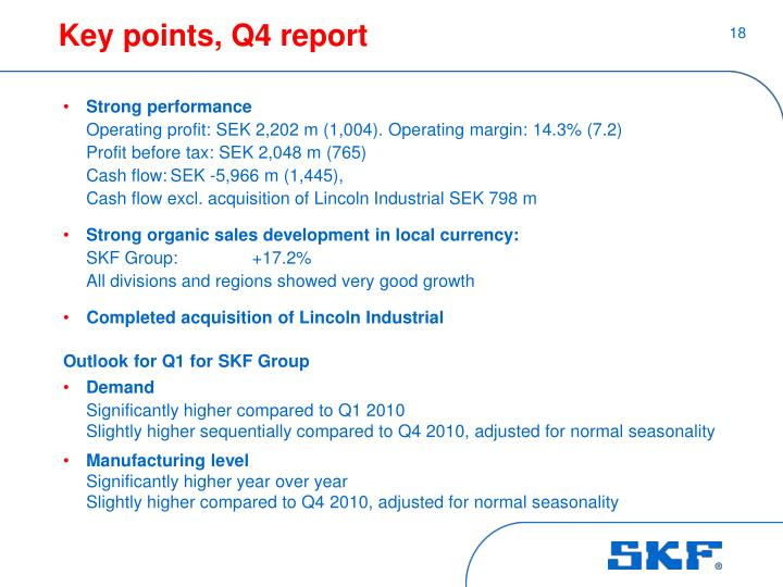 Key points, Q4 report