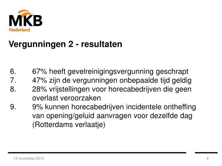 Vergunningen 2 - resultaten