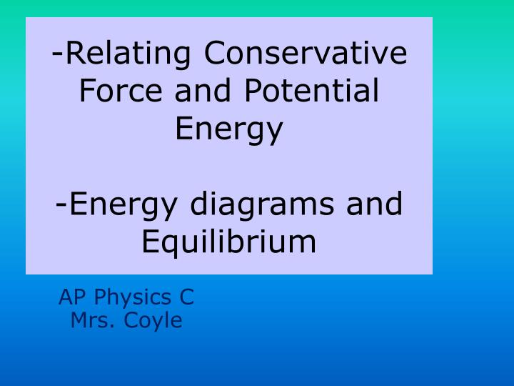 Relating conservative force and potential energy energy diagrams and equilibrium