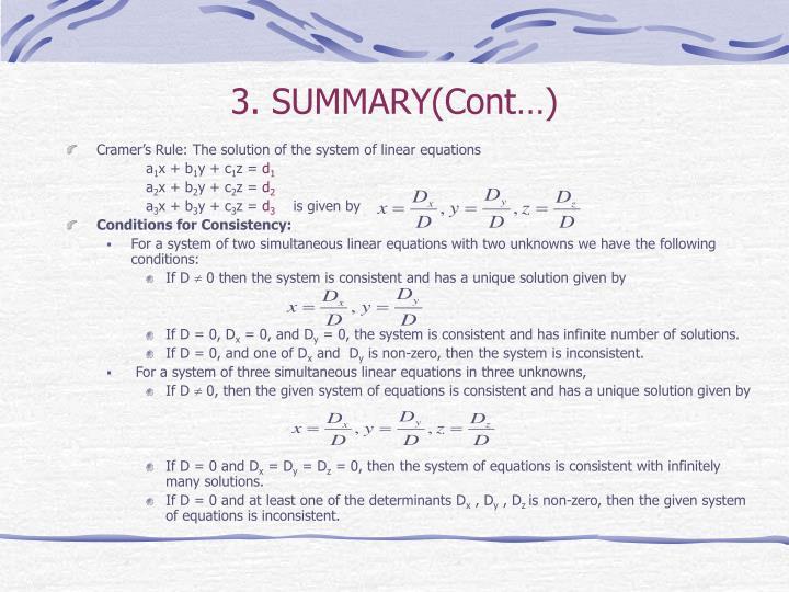 3. SUMMARY(Cont…)
