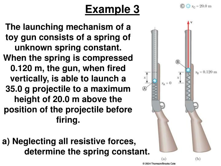 The launching mechanism of a toy gun consists of a spring of unknown spring constant. When the spring is compressed 0.120 m, the gun, when fired vertically, is able to launch a 35.0 g projectile to a maximum height of 20.0 m above the position of the projectile before firing.