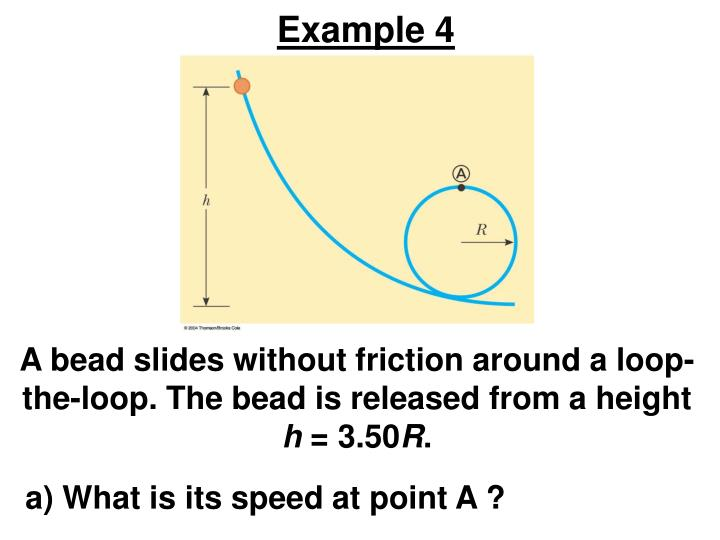 A bead slides without friction around a loop-the-loop. The bead is released from a height