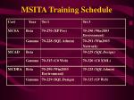 msita training schedule