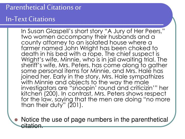Parenthetical Citations or