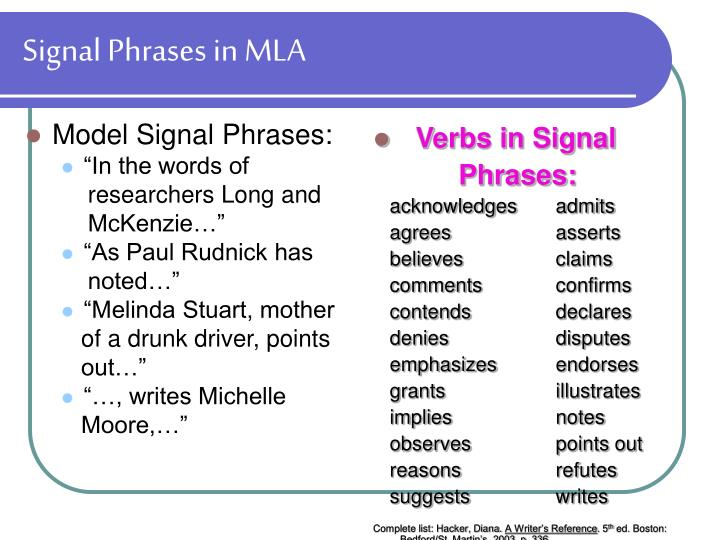 Signal Phrases in MLA