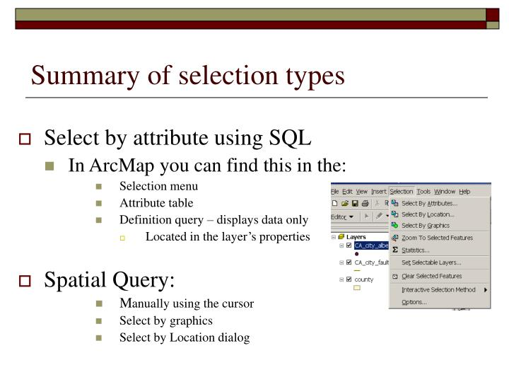 Summary of selection types