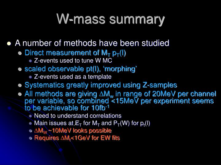 W-mass summary