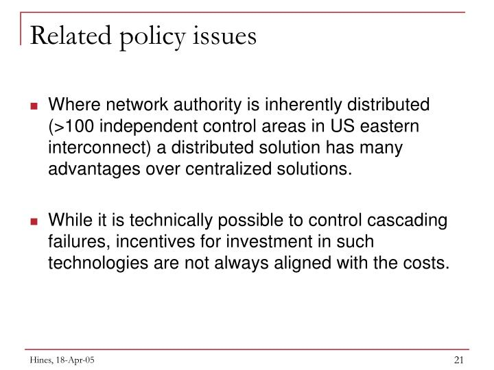Related policy issues
