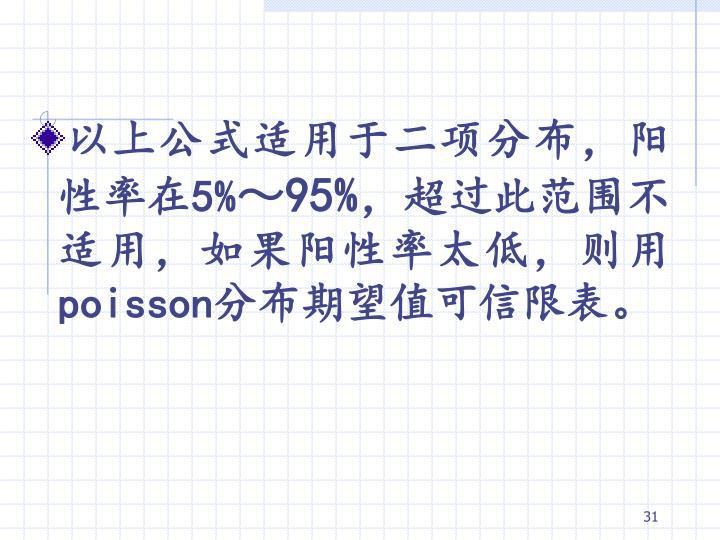 以上公式适用于二项分布,阳性率在5%