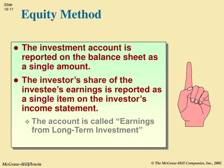 The investment account is reported on the balance sheet as a