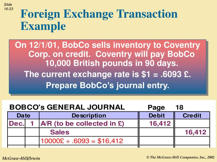 On 12/1/01, BobCo sells inventory to Coventry Corp. on credit.  Coventry will pay BobCo 10,000 British pounds in 90 days.