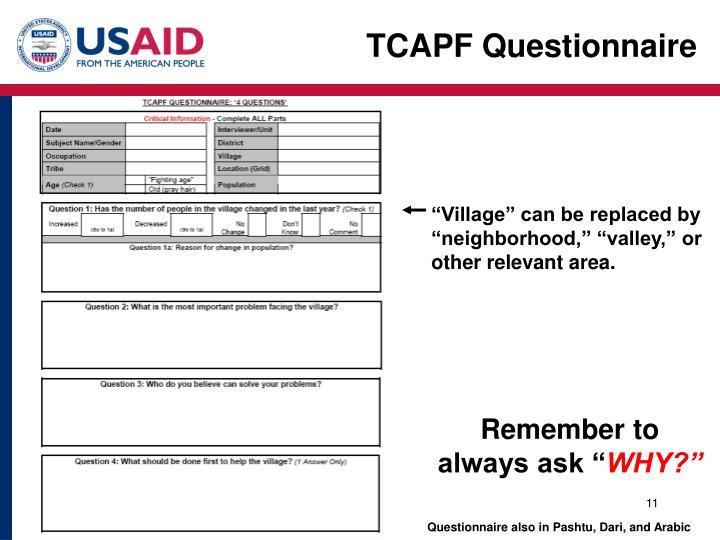 TCAPF Questionnaire