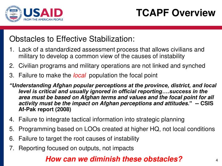 Obstacles to Effective Stabilization: