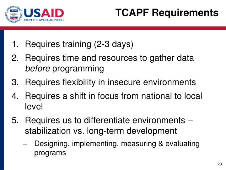 TCAPF Requirements