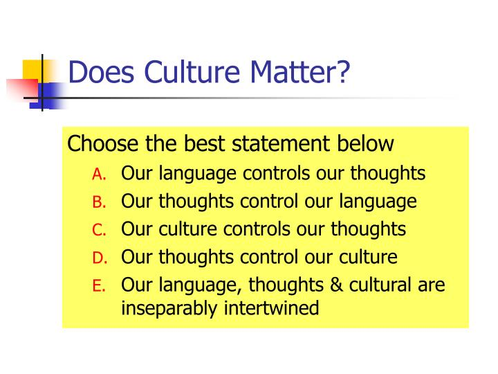 Does Culture Matter?