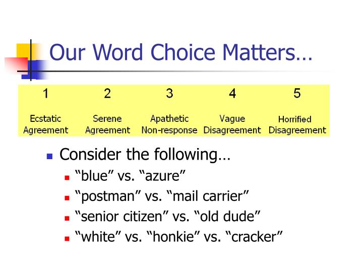 Our Word Choice Matters…