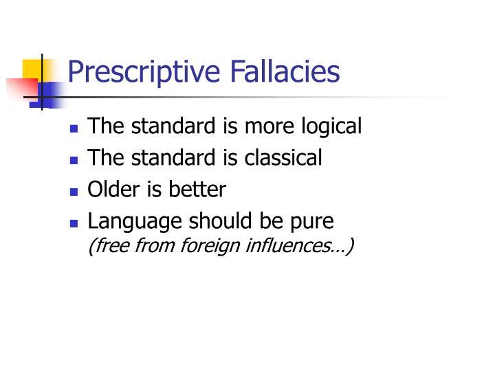 Prescriptive Fallacies