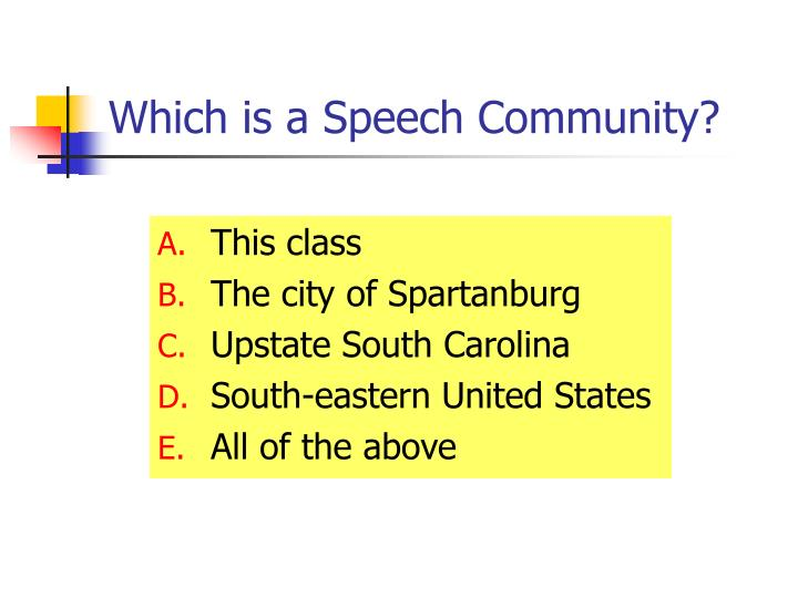 Which is a Speech Community?