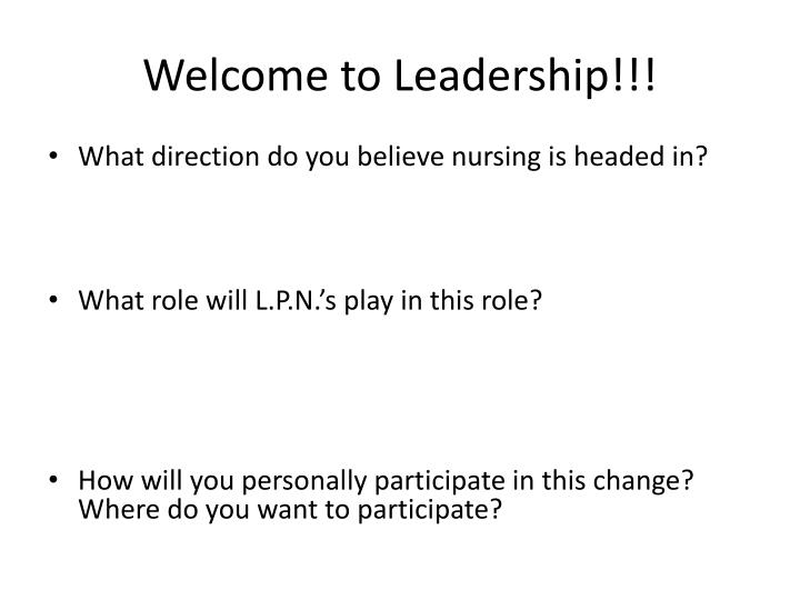 Welcome to Leadership!!!