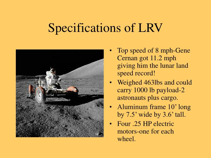 Specifications of LRV