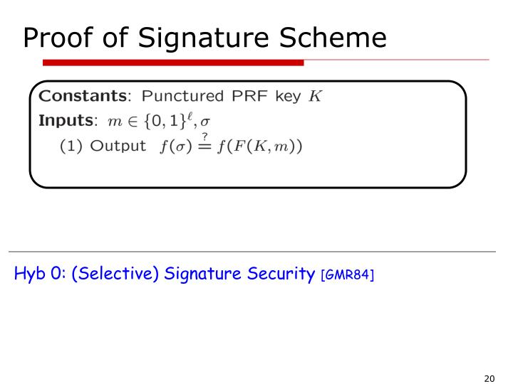 Proof of Signature Scheme