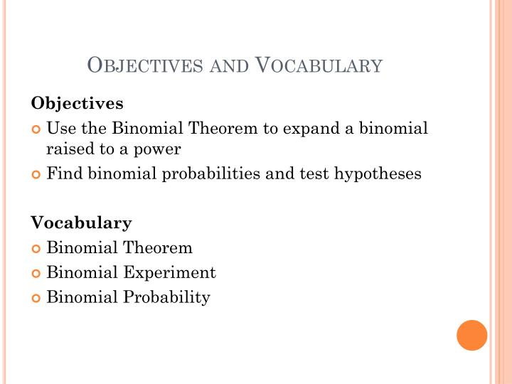 Objectives and Vocabulary