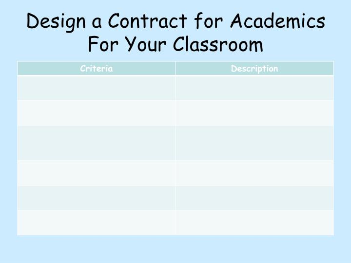 Design a Contract for Academics