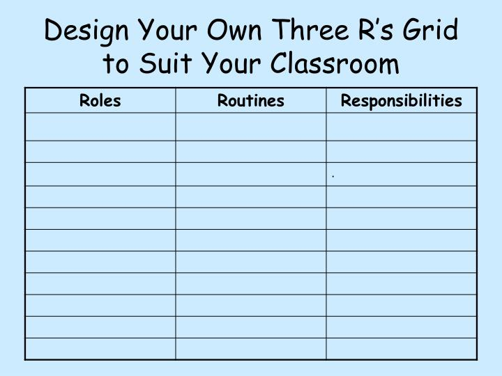 Design Your Own Three R's Grid