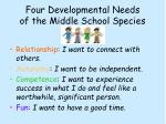 four developmental needs of the middle school species