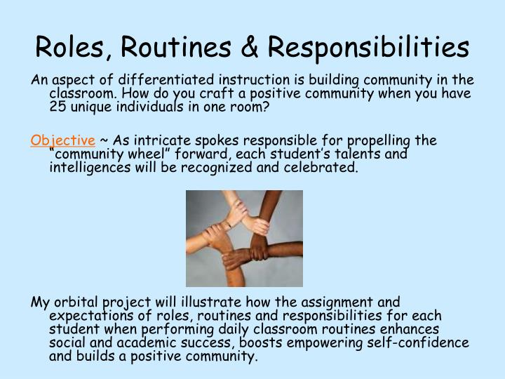 Roles, Routines & Responsibilities